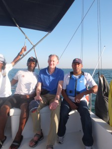 On the water with Hamed Al Yahmadi (l) and Rashid Al Kindi (r)