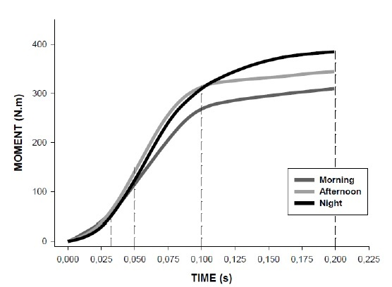 Moment-time curves at different time of the day (Pereira and Machado)